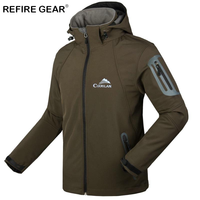 ReFire Gear Winter Windproof Warm Camping Fleece Jacket Men Waterproof Hooded Outdoor Hiking Jacket Fishing Windbreaker Jackets