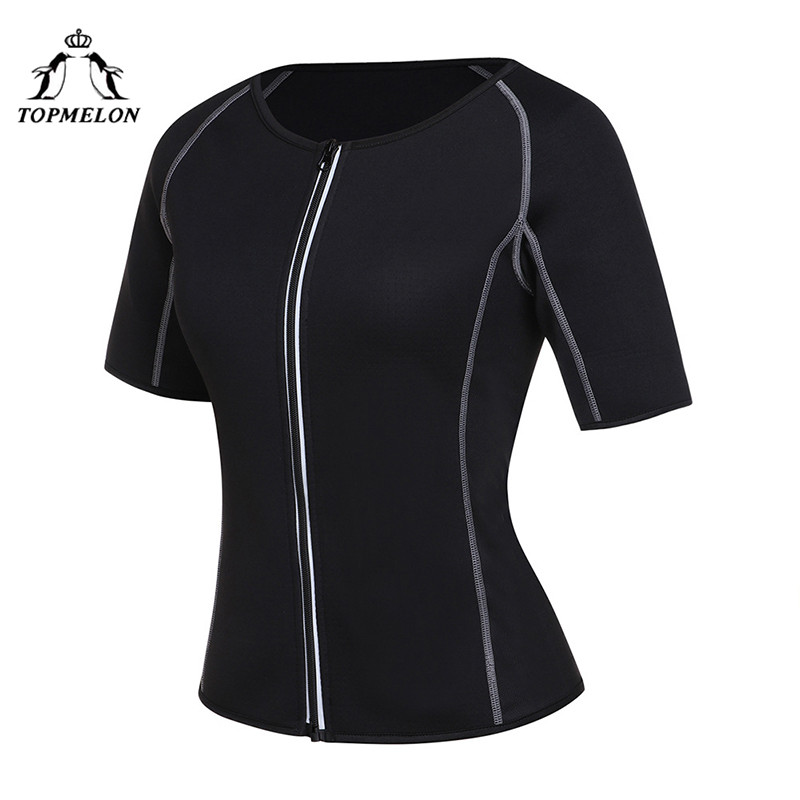 TOPMELON Sweat Body Shaper Zipper Corset for Women Plus Size Black Midi Sleeve Tops Fashion Style Shapers S-2XL