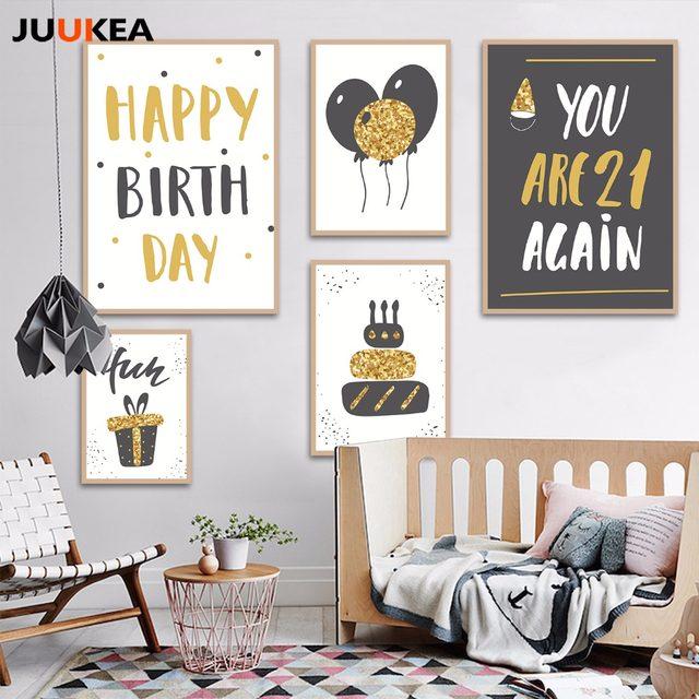 Happy Birthday Ballon Kuchen Geschenke, Leinwand Kunstdruck Malerei Poster  Wand Bild Für Wohnzimmer Wohnkultur Kinderzimmer Geschenke