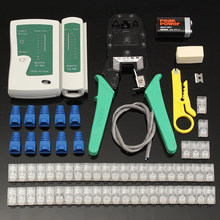 Cable Tester Kit Ethernet Cable Tester Kit Crimp Crimper Pliers RJ11 RJ12 RJ45 Connector Modular Plug Network Tool Set(China)