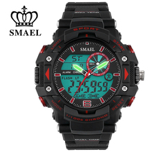 SMAEL Big Dial Waterproof Military Watch Sport LED Digital-Watch Dual Time Men Clock relojes hombre relogios masculine WS1379
