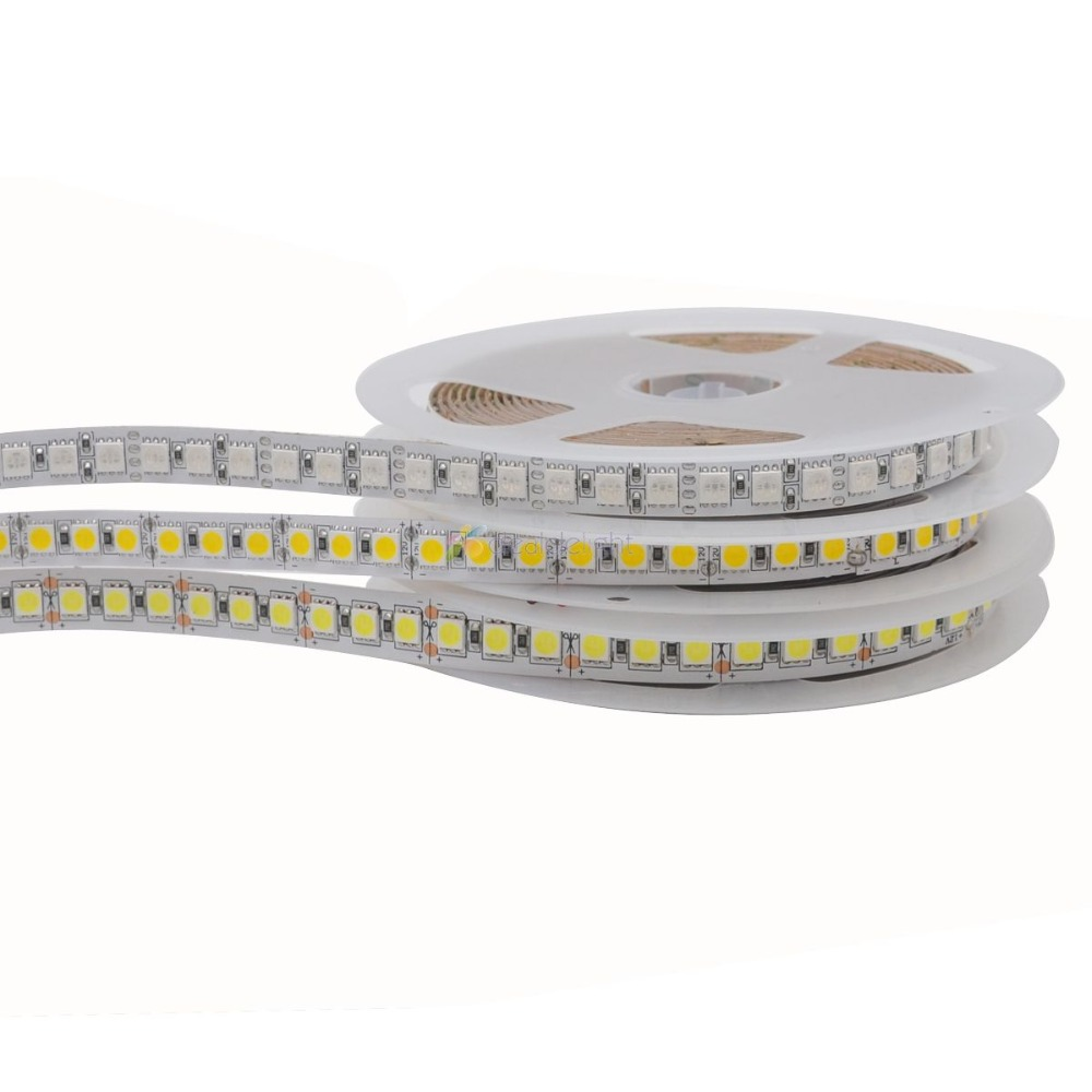5m 5050 SMD 600 LED Strip Single Row DC12V Non-waterproof Flexible Light 120 Leds/m,5m/lot White Warm White RGB 10mm PCB