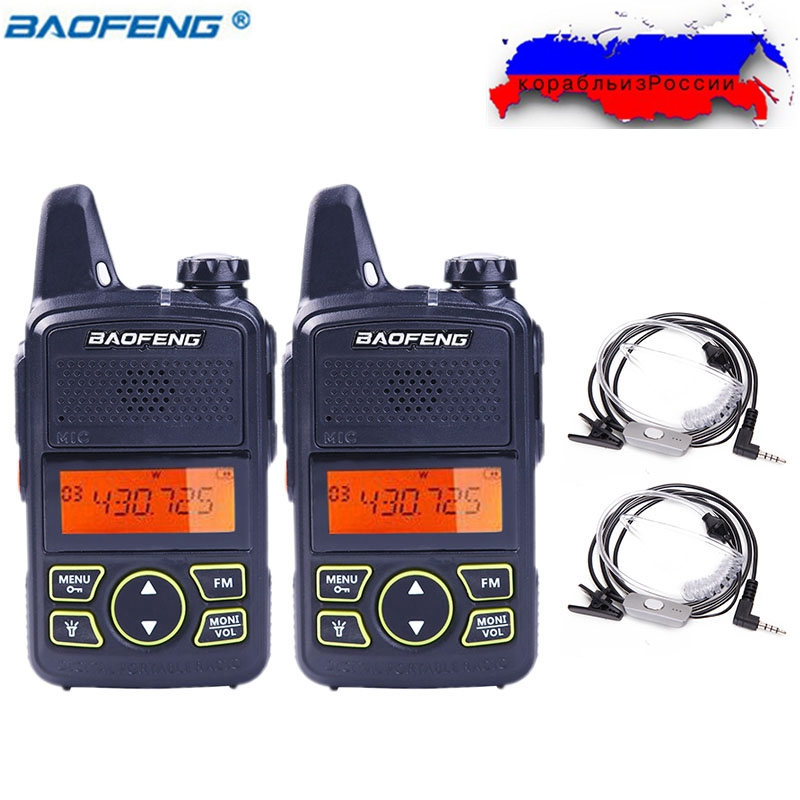 2 pcs BAOFENG BF-T1 MINI Two Way Radio UHF 400-470 mhz 20CH BFT1 Portable Talkie Walkie BF T1 + Tube acoustique Casque