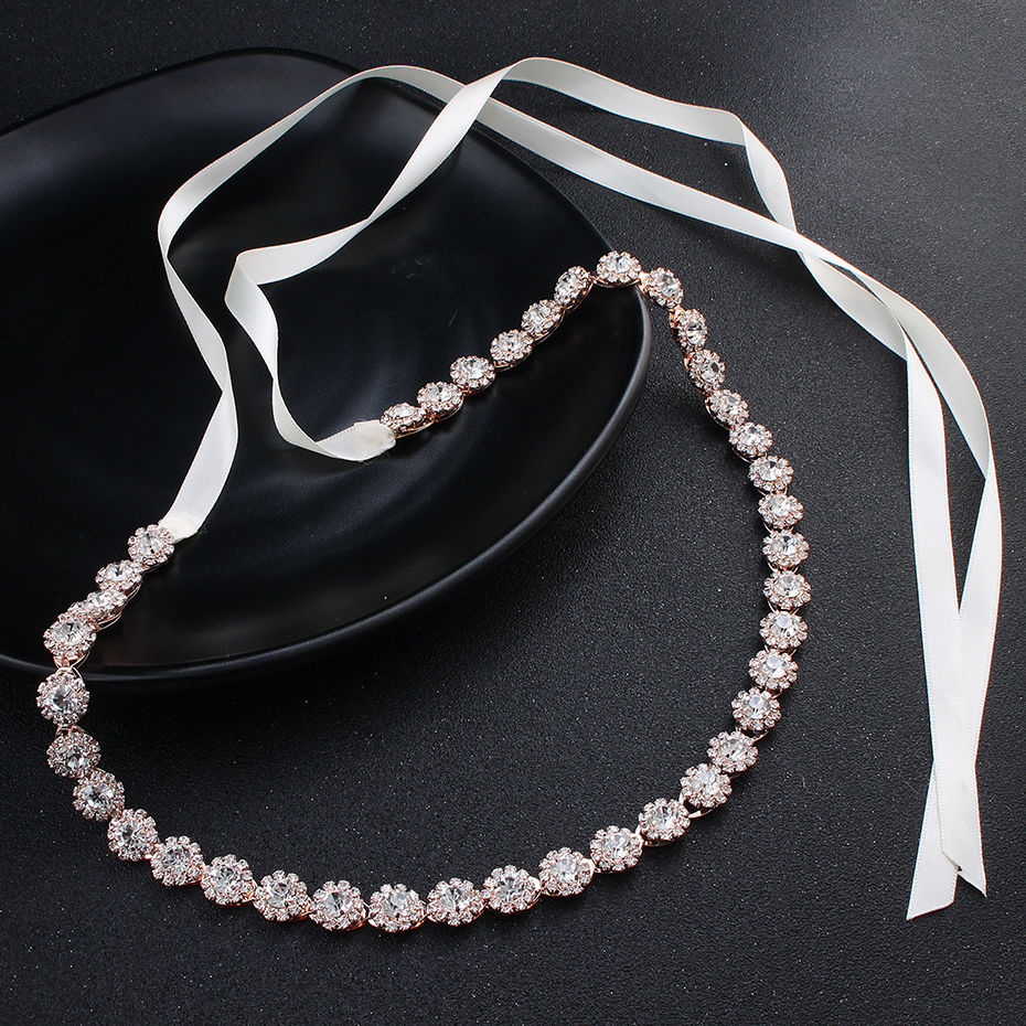 Miallo Fashion Thin Rhinestone Alloy Wedding Belts & Sashes Bridal Dress Accessories Skinny Sashes For Bride Bridesmaids
