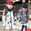 Children's clothing teenage girls winter doodle wadded jacket medium-long child thickening cotton-padded jacket big girl cost
