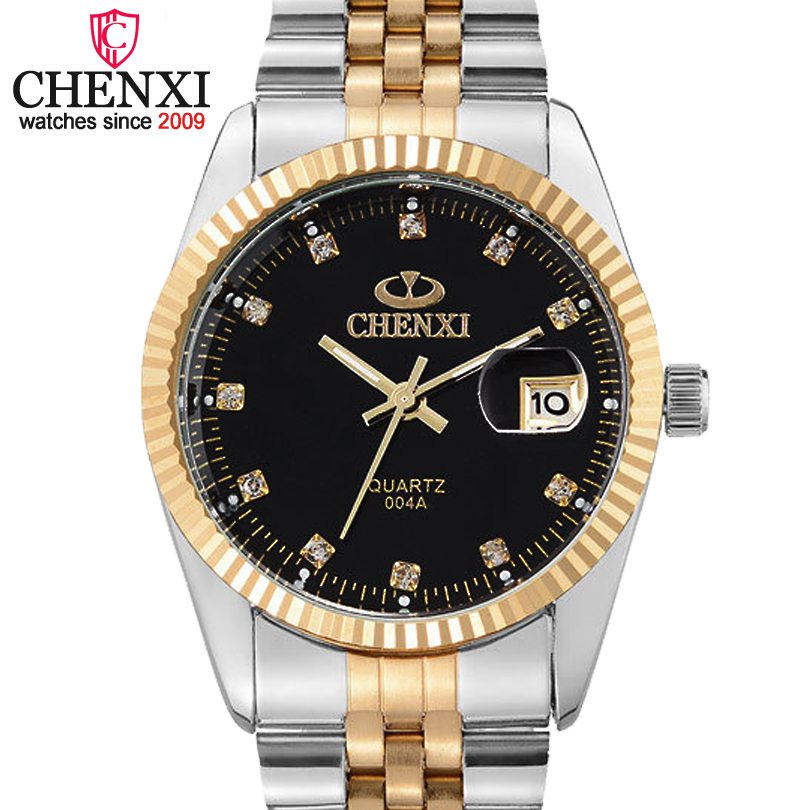 Prix pour Chenxi Marque De Luxe Hommes de Montre D'affaires Hommes En Acier Inoxydable Date Heure Or Montre-Bracelet pour les Hommes Horloge À Quartz Étanche Montres