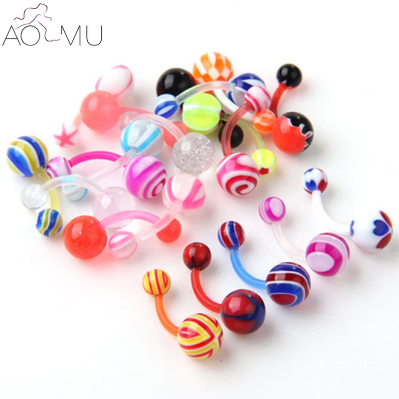 AOMU 10Pcs/Lot Wholesale 14G 1.6*10*5/8mm Ball Colorful UV Acrylic Belly Button Ring Ball Barbell Navel Piercing Body Jewelry