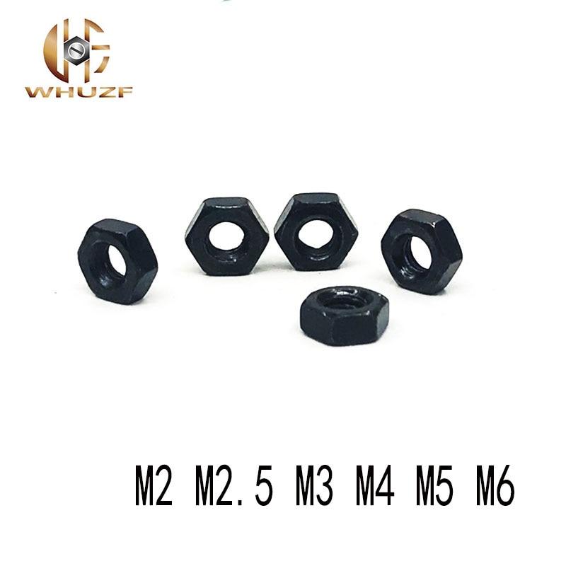 1000pcs M2 M2.5 M3 M4 M5 M6 8.8 Grade Carbon Steel Black Hex Nut Hexagon Nuts Hexagonal Nut Screw Nuts