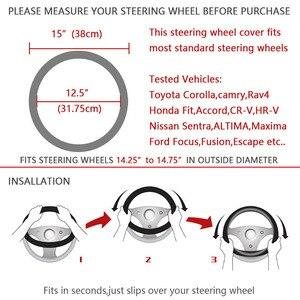 Image 5 - Rhinestone Crystal Car Steering wheel cover Crown Coverd Women  Luxurious Diamond PU Leather Car handles cover