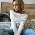 2016 Сексуальная Осень Пуловеры Свитера Горячие Продажа Слэш Шеи Случайные Свитер Женщин Свитера и Пуловеры Женская Мода Топы WG44