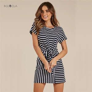 BGLQCLA 2018 Summer Bandage Dress Casual Office Women s 7f0ba101576e