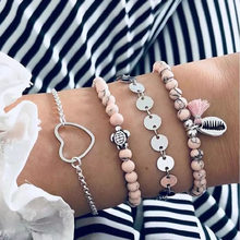 Pink Stone Bracelets for Women Vintage Silver Turtle Shell Big Heart Love Boho Strand Bracelet Set Tassel Wristband Jewelry 2019(China)