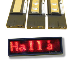 2019 Promotion 44x11 Dots Red Color Led Name badge / display panel Sign ,rechargeable Business Name Card Led Message Tag (China)