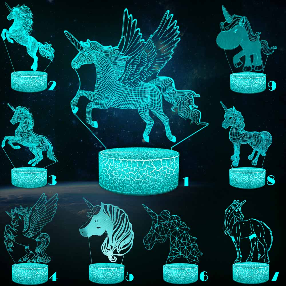 Unicorn Series 3D Night Light Pony Girl Child Gift Mullticolor USB 3D Lamp Cartoon RGB LED Beside  Luminaria Kid Toy Table Decor