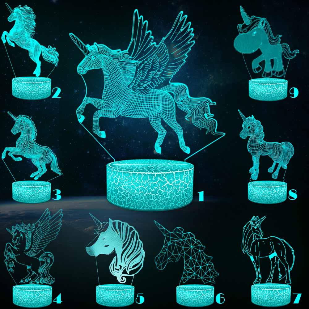Unicorn Series 3D Night Light Pony Girl Child Gift Mullticolor USB 3D Lamp Cartoon RGB LED Beside  Luminaria Kid Toy Table Decor