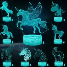 Unicorn Series 3D Night Light Pony Girl Child Gift Mullticolor USB Lamp Cartoon RGB LED Beside  Luminaria Kid Toy Table Decor