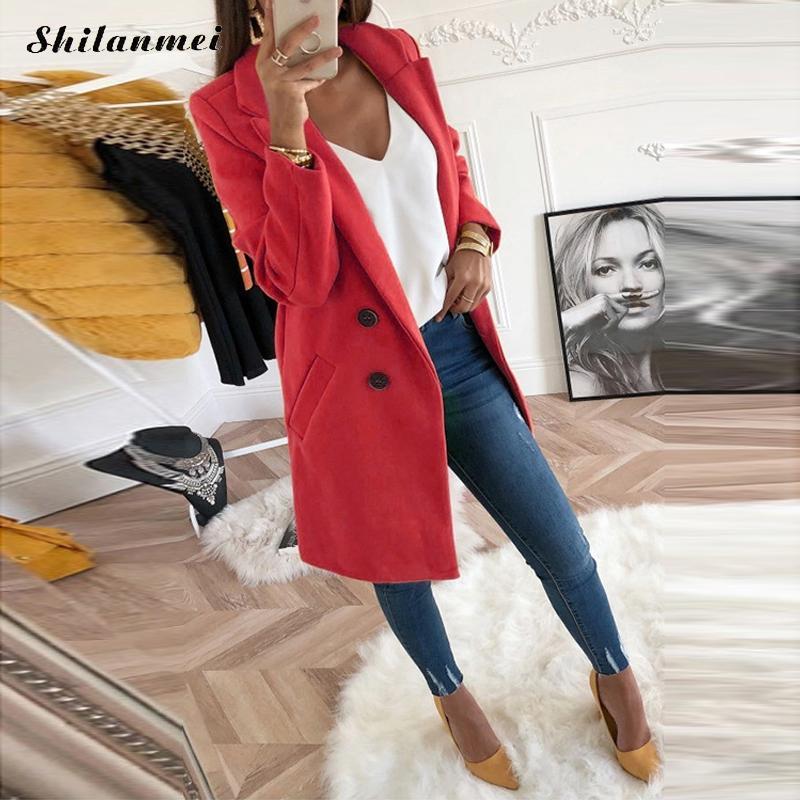 18 New Women Long Sleeve Turn-Down Collar Outwear Jacket Wool Blend Coat Casual Autumn Winter Elegant Overcoat Loose Plus Size 7
