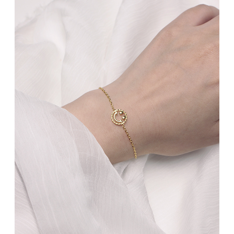 YEAJEWEL fashion cute Smiling face expression bracelet gold color silver Hand catenary jewelry for women girl best gift