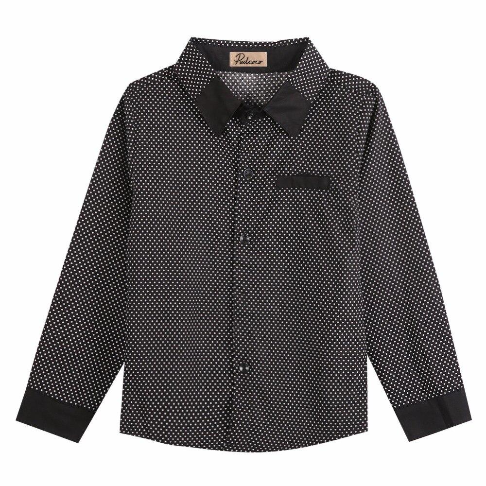 2017 Neue Kinder Jungen Formale T-shirt Plain Langärmelige Polka Dot Revers Party Hemd Durch Wissenschaftlichen Prozess