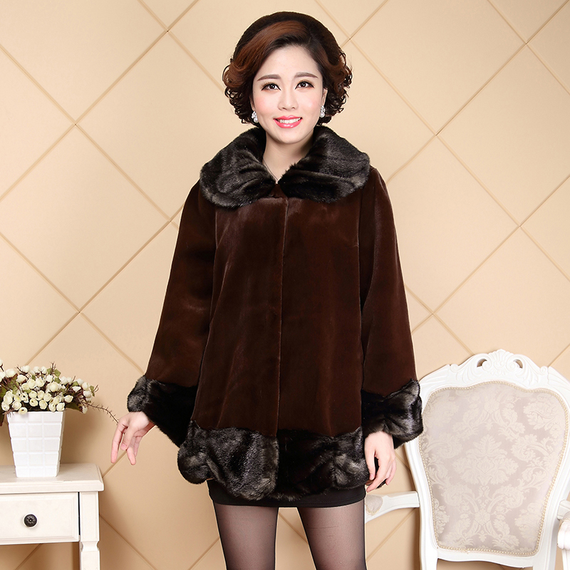 Nerazzurri Middle Aged Women Faux Fur Coat Turn-down Collar Full Sleeve Loose Fit Large Size Fake Mink Fur Overcoat 4XL 5XL 6XL