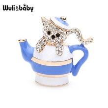 Wuli&baby Rhinestone Teapot Bear Brooches Women Men Lovely Enamel Animal Party Brooch Pins Gifts цена 2017
