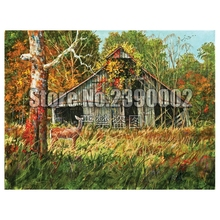 Diy Diamond Painting Fall Cabins Cross Stitch Embroidery Wall Sticker Mosaic Cottages Houses Christmas Crafts Rhinestone