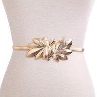 Women Design Belt Metal Leaves Cummerbund Clasp Front Stretch Waistband Elastic Waist Belt Dress Accessories Leaves