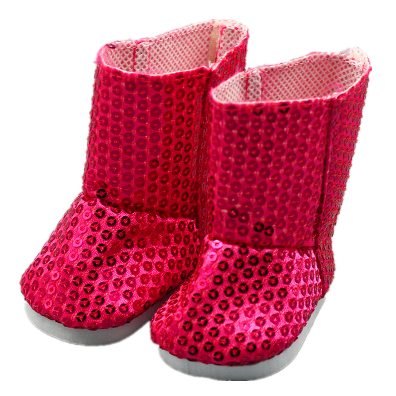 Doll Accessories,American Girl Doll Shoes Red Sequins Boots Fit 43cm Doll Baby Born zapf, Children best Birthday Gift
