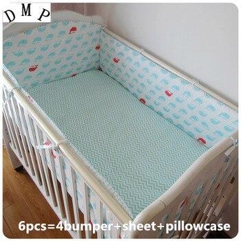 Promotie! 6 STKS Babybedje beddengoed baby beddengoed beddengoed bumpers in de wieg baby beddengoed set kinderen, (bumpers + sheet + kussen cover)