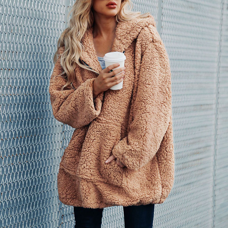 Women Casual Hoodies Pullovers Sweatshirt Winter Warm Faux Fur Coat Womens Long Sleeve Zipper Hooded Plus Size 3XL