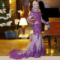 2019 Saudi Purple Mermaid Long Sleeve Evening Dress High Neck Dubai Abaya Kaftan Robe De Soiree Lace Applique Formal Party Dress