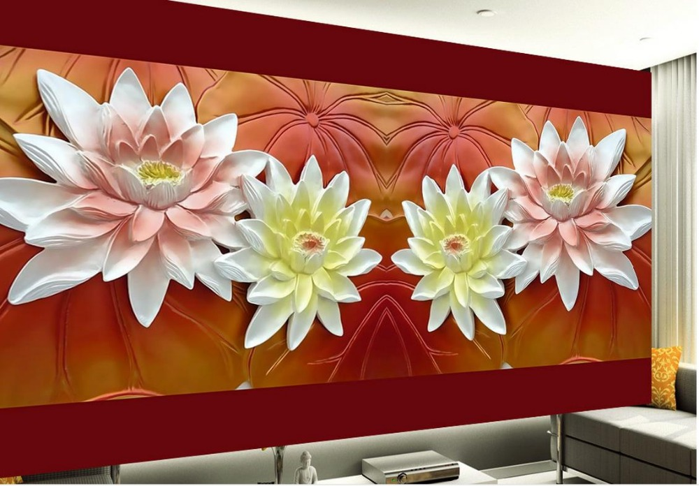 Relief murals TV backdrop stereoscopic lotus 3d wallpaper flower 3d mural designs scuba dive light