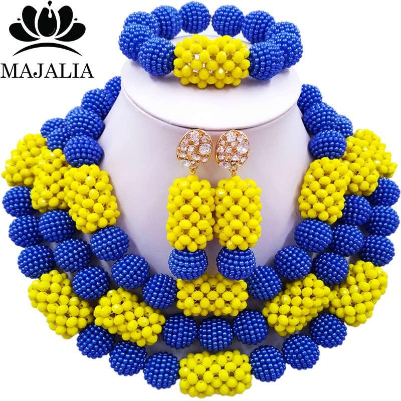 все цены на Majalia Fashion Charming Nigerian Wedding African Jewelry Set Blue and Opaque yellow Crystal Necklace Bride Jewelry Sets 3SZ074 онлайн
