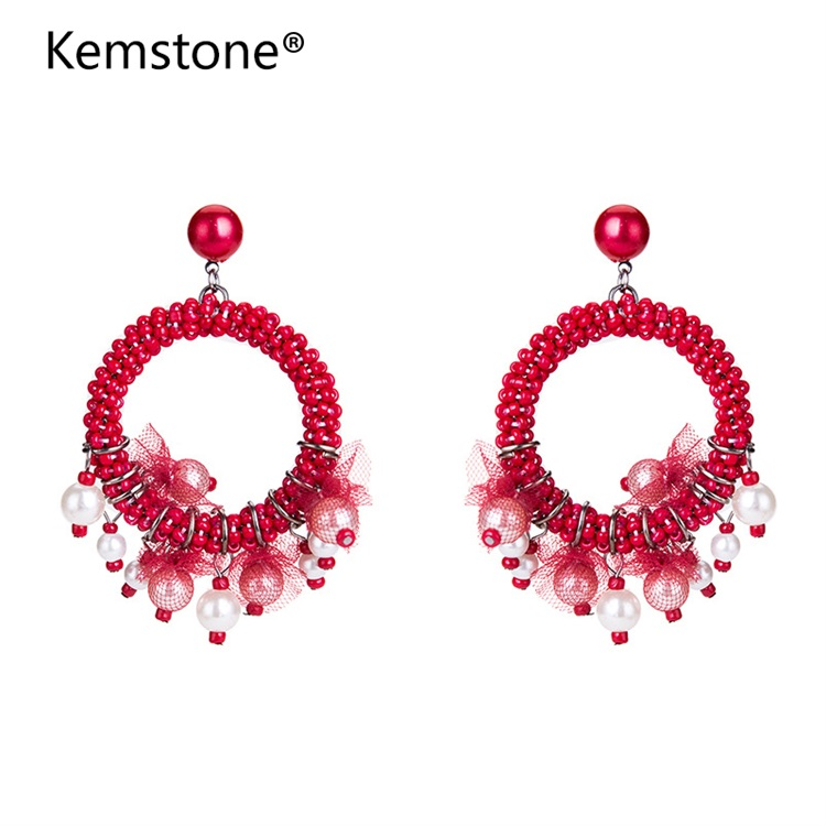 Kemstone Braided Beaded Big Round Shape Drop Earrings for Women Handmade Simulated Pearl Dangle Earrings Bohemian Style Jewelry