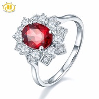 Hutang Natural Gemstone Rhodolite Garnet & Zircon Solid 925 Sterling Silver Snow Ring Fine Jewelry Presents Gift For Women