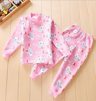 2pcs Set Baby Boys Girls Warm Suits For Children Clothing Kids Fleece Thermal Underwear Thickening