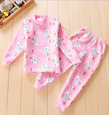 (2pcs/set) Baby Boys Girls Warm Suits for Children Clothing Kids Fleece Thermal Underwear Thickening Velvet Baby Set