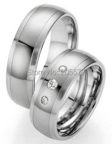 2014 Классический заказ белый цвет золотистый здоровья titanium cz обручальное кольцо наборы