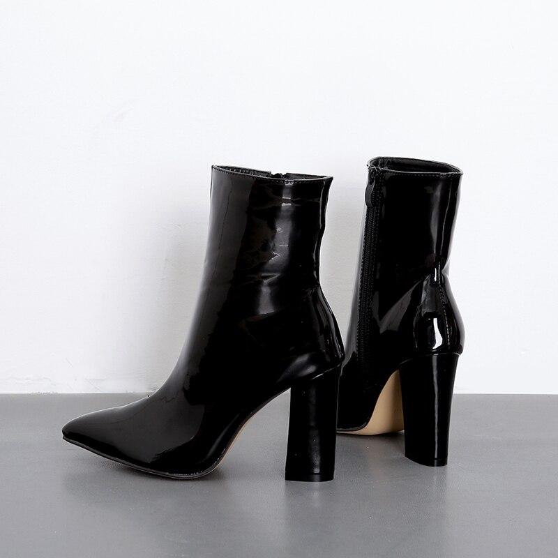 e3505bf4b14e Cheville D hiver Pointu Luxe Talons Zapatos De Noir Femme Chaussons En Mujer  Chaussures Bottes Haute Cuir Bout Zipper Dames Verni Zn1XqzO