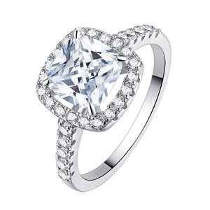 Image 5 - Newshe Solid 925 Sterling Silver Wedding Rings For Women 2.2 Ct Square Cushion Cut AAA Cubic Zircon Engagement Ring Set
