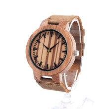 БОБО ПТИЦА Японский miyota 2035 движение наручные часы из натуральной кожи полосы бамбука деревянные часы для мужчин и женщин C21