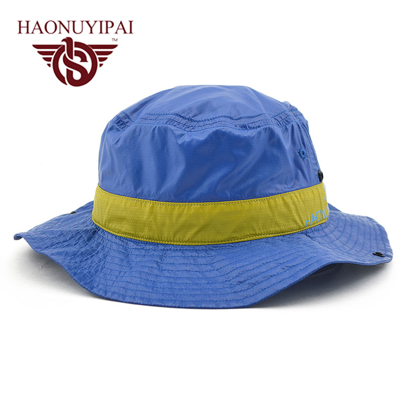 94dd5fc4b1f High Quality Men s Bucket Hat Brand Summer Beach Sun Hat Sunscreen Round  Visor Cap Bone Masculino Chapeu Outdoors Caps Wholesale