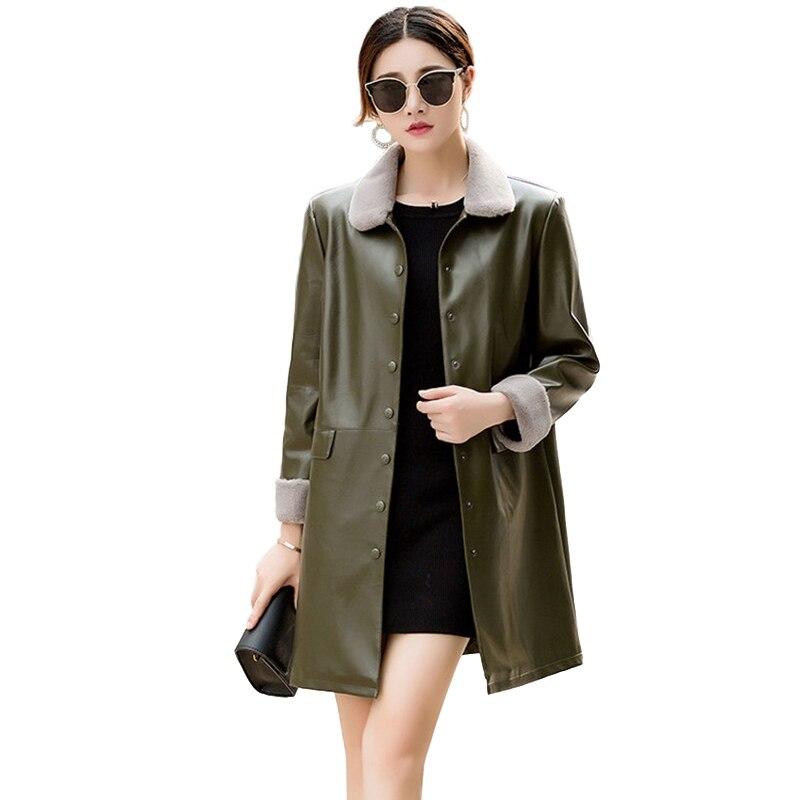 Leather   Jacket Women 2019 Autumn Winter Thicken Flocking PU   Leather   Coat Female Plus size Windproof Warm Windbreaker Coats H746
