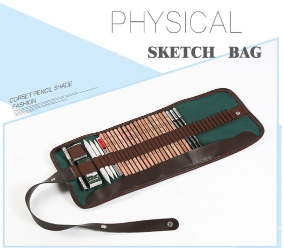 36 holes Portable Professional Sketch Pencil bag Pencil case Extender Eraser pencil case Cutter Drawing Set Bag no pencil ASS029 penguin print pencil case