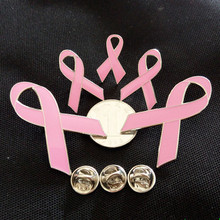 Free Shipping!! 10pcs/lot  Breast Cancer Awareness Pink Ribbon Brooch Enamel Lapel Pins for Wolrd AIDS