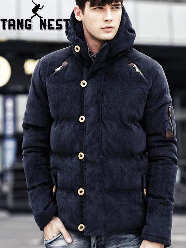 TANGNEST Men's   Parka   2019 Winter Men Jacket Coat Corduroy Hooded Solid Color Padded Coat Jacket Men Thick Coat MWM1885