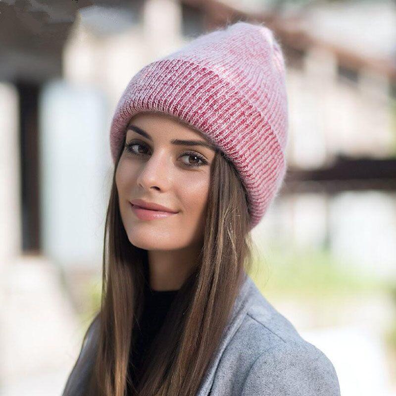 2019 nova simples Chapéu Gorro de pele de Coelho para As Mulheres Skullies  Inverno Quente Cap e832b2c9297