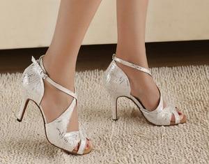 Image 3 - DILEECHI thương hiệu của Phụ Nữ Trắng Satin Leopard Latin giày khiêu vũ bán buôn Tại Chỗ Salsa Đảng Quảng Trường giày khiêu vũ Cao gót 8.5 cm