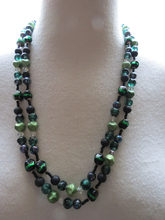 HOT SELL - 1154 Green Black Glass Bead Necklace Crystal 2 Strand Long Foil Swirl Reflective -Top quality shipping(China)