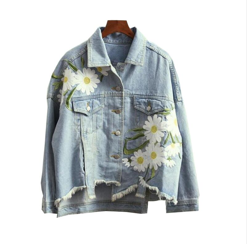 2017 Korean Harajuku Daisy Floral Patch Design Embroidery Asymmetrical Denim Jacket Female <font><b>jean</b></font> jacket outwear s449